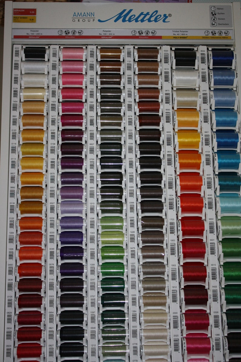 Mettler Machine Embroidery Thread box set Poly Sheen 8 Basic Colours