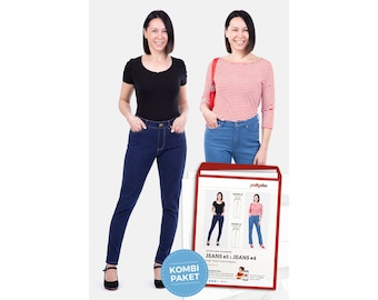 Sewing pattern jeans #3 & #4 - combination package - high waist, slim/straight legs by pattydoo