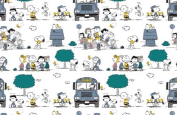 Baumwoll Jersey Peanuts Snoopy Bus weiß   Etsy