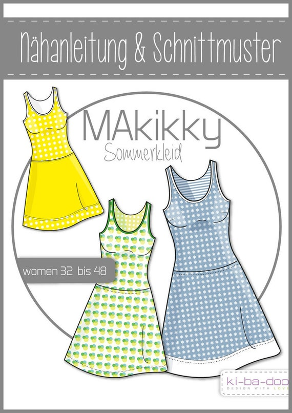 Schnittmuster/pattern Kleid Kikky Gr. 32 48 | Etsy