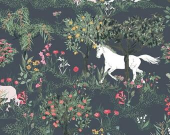 Cotton fabric Art Gallery unicorn grey-green