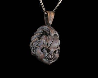 da3460c71 Chucky Horror Pendant, Child's Play, bronze ... chucky doll