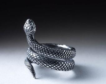 Snake Ring, silver, adjustable size, handmade