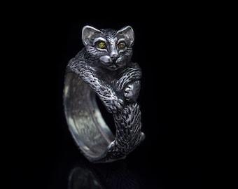 Cat Ring, sterling silver, handmade