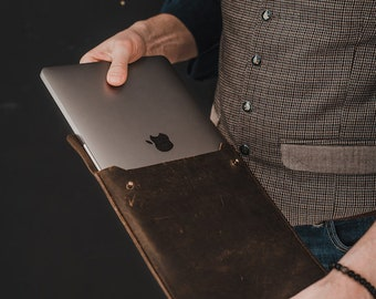 "Leather MacBook Pro Sleeve 13"" & 15"" / Leather Laptop Case / Leather MacBook Pro Organizer / Leather Case / Leather Laptop Sleeve"