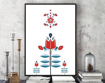 Patrón popular de la flor nórdica Retro, mediados siglo arte moderno - arte de pared minimalista moderna, diseño escandinavo, estilo nórdico - descarga inmediata
