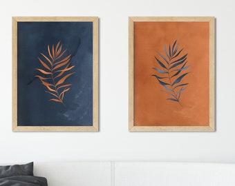 Orange And Blue Art Etsy