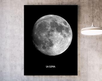 Full Moon Print: La Luna - Minimalist Lunar Print. Solar System Art. Celestial Sky. Moon Phases. Sky Watching. Black and White Modern Art.