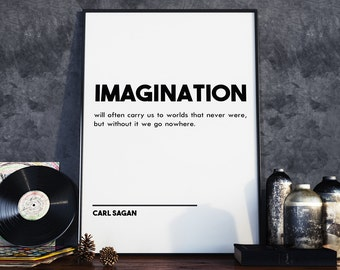 "Carl Sagan ""Imagination"" Art Quote - 24 x 36"" Printable - Modern Typography / Scandinavian Design Modern Print Wall Art - Instant Download"