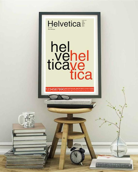 Helvetica Schrift Typografie Poster Mitte Jahrhundert Moderner | Etsy