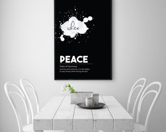 PEACE Motivational Typography Art - Inspirational Dictionary Poster - Scandinavian Black and White Minimal Wall Art - INSTANT DOWNLOAD