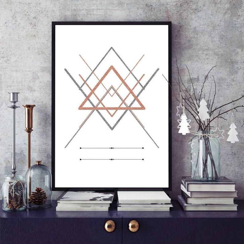 AbstractoFormas De Y Oro Triángulo EscandinavoMinimalista Rosa GeométricasDiseño Arte Plata ArtePatrón Moderno Impresión TPkZOiuX