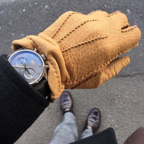 Paume en cuir pécari Gants homme perforé conduite gants de   Etsy cd2236813b2