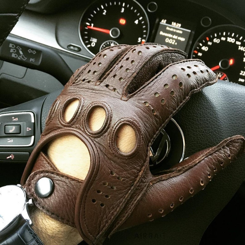 Black Classic Handmade Driving Leather Gloves