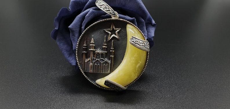 Mosque Unisex Adults Jewelry 461 Amber Pendant Star Moon \u0627\u0644\u0639\u0646\u0628\u0631\uff0cBernsteinanh\u00e4nger Natural Amber 925 Sterling Silver