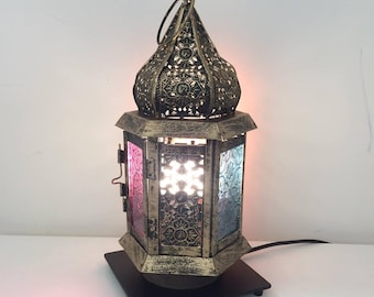 Moroccan table lamp etsy moroccan lantern table lamp with stained glass windows bedside light aloadofball Images