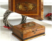 Antique Marquetry Jewelry Box Wood Inlaid Box Keepsake Trinket Box Hope Treasure Chest Large Jewelry Box Sewing Storage Box Wood Display Box