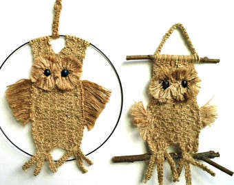Vintage Macrame Owl Wall Tapestry Driftwood Ring Small Handmade Brown Woven Jute Embroidery Hoop Textile Art Retro Boho Hanging Home Decor