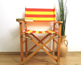 Vintage Directors Chair Folding Chair Striped Yellow Red Armchair Wood  Canvas Chair Stool Camping Patio Chair Garden Porch Balcony Decor