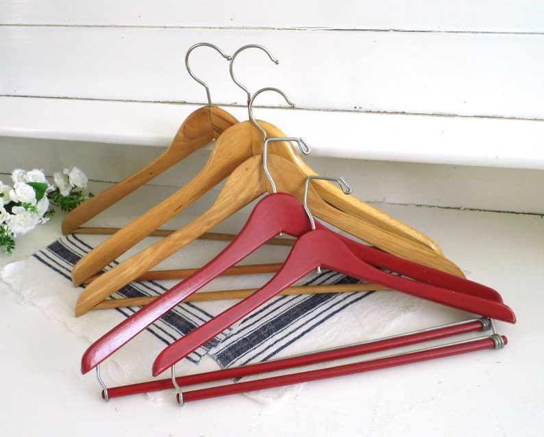 Set 2 Or 3 Retro Wooden Clothes Hangers Yellow Red Coat Trousers Pants Hanger Wood Clothes Storage Wardrobe Organizing Rustic Wedding Decor