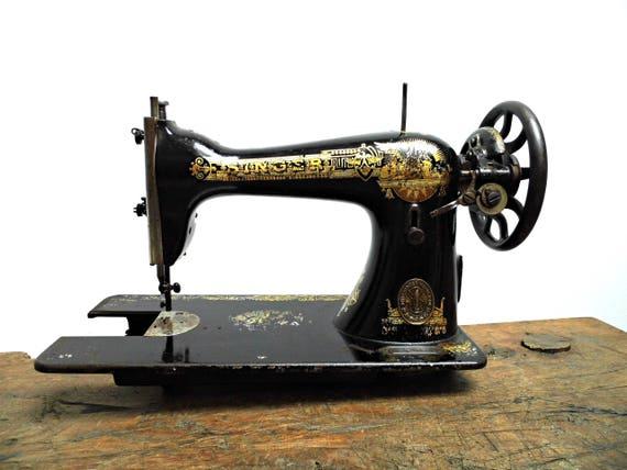 40s Antique Singer Sewing Machine Head Unit Black Gold Etsy Magnificent Singer Hand Crank Sewing Machine