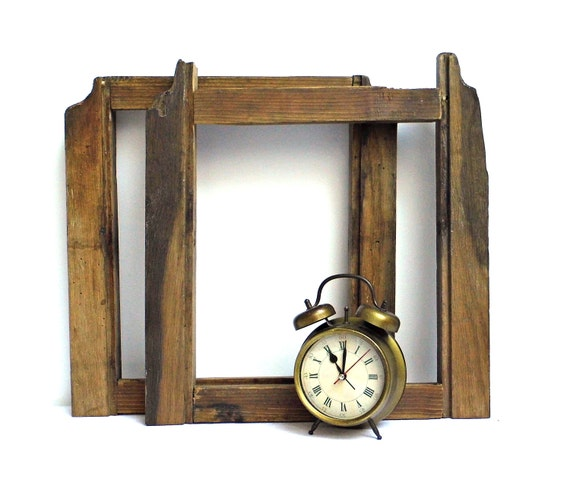 1 antique photo cadre bois Vintage ouvrir Galerie cadre Grange récupéré miroir en bois tableau cadre ferme rustique Primitive décoration murale