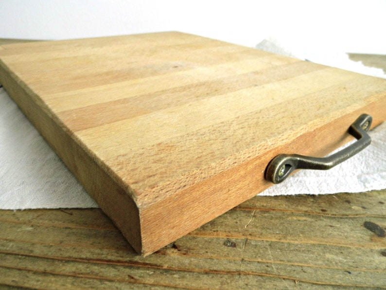 Vintage Butchers Block Chopping Board Cutting Board Handles Large Square Wood Rustic Bread Cheese Serving Board Primitive Farmhouse Kitchen