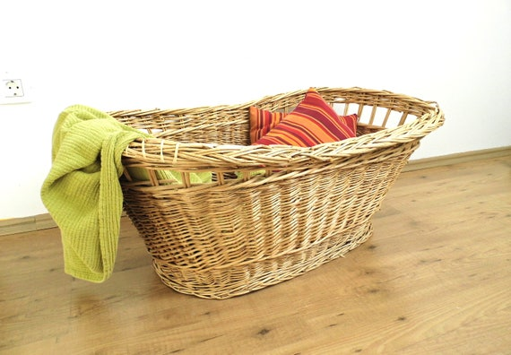 Antik baby wiege bett stubenwagen wicker gewebt wäschekorb etsy