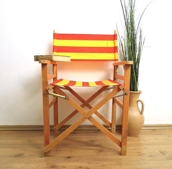 image 0 - Vintage Directors Chair Folding Chair Striped Yellow Red Etsy