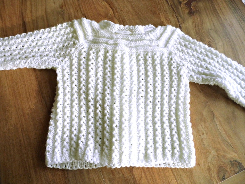 e95a3d86c Vintage Hand Knitted Baby Sweater 12MO White Wool Open