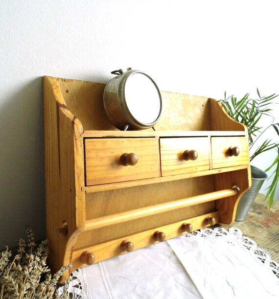 Vintage Spice Rack Halter Holz Wand Hangen Gewurz Regal Etsy