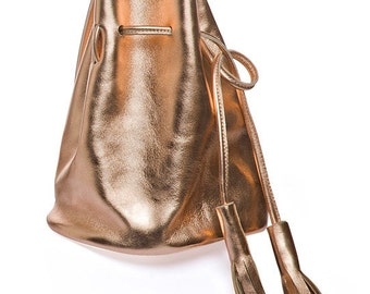Rose gold leather bucket bag,  small copper leather bucket bag with tassels, rose gold bucket bag, drawstring leather bucket bag
