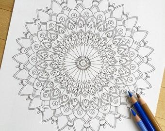 "Mandala ""Utopia"" - Hand Drawn Adult Coloring Page Print"