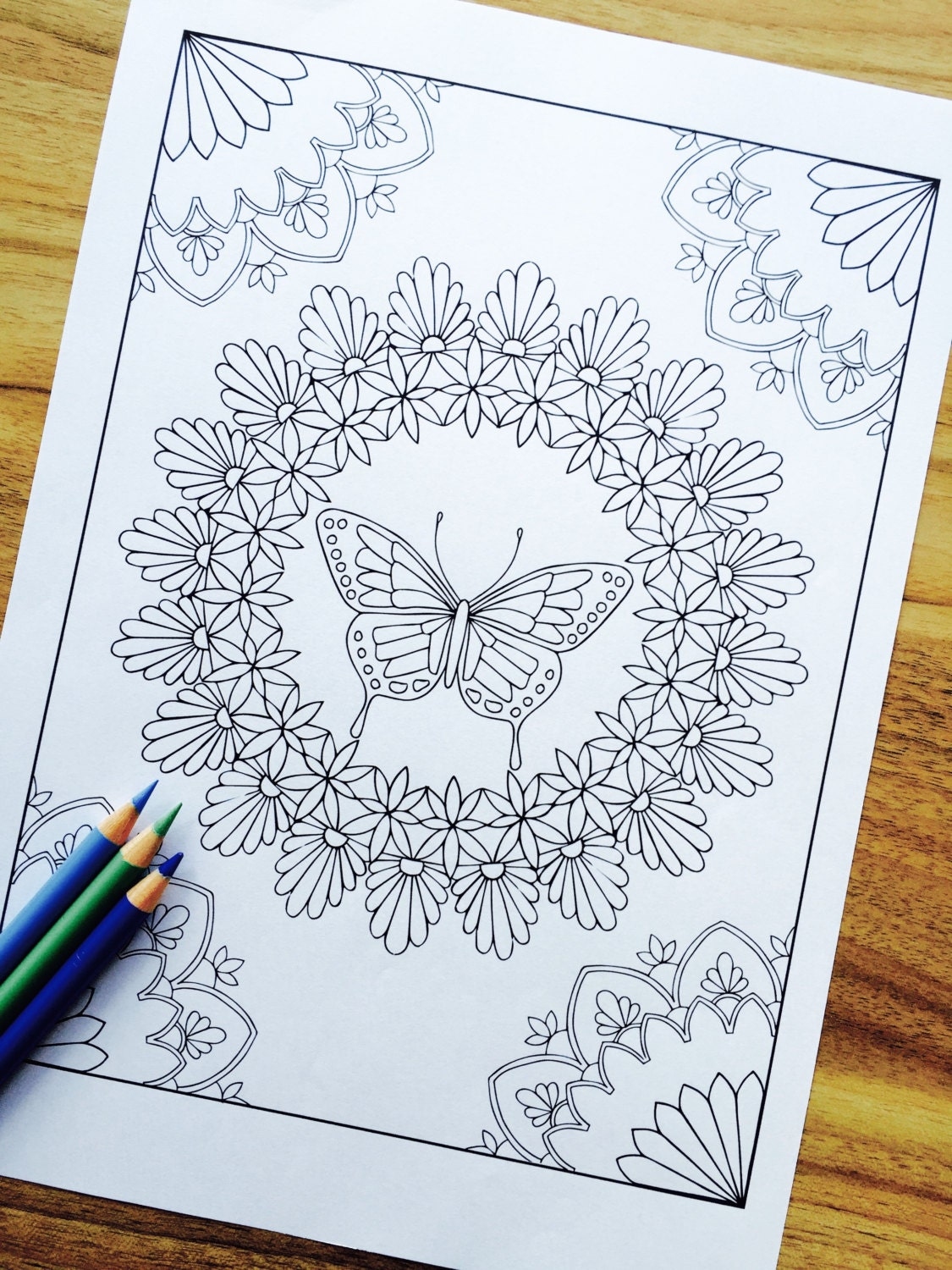 Butterly Series Print 3 Hand Drawn Adult Coloring Page Print   Etsy