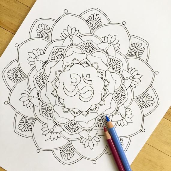 Mandala Om dibujado a mano colorante adultos | Etsy