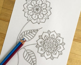 Blossom - Hand Drawn Adult Coloring Page Print