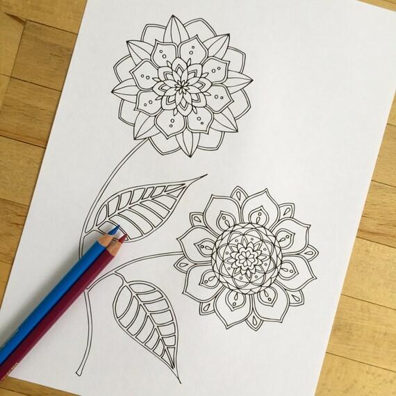 Flor dibujado a mano colorante adultos página impresión   Etsy