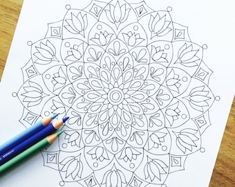 "Mandala ""Origin"" Hand Drawn Adult Coloring Page"