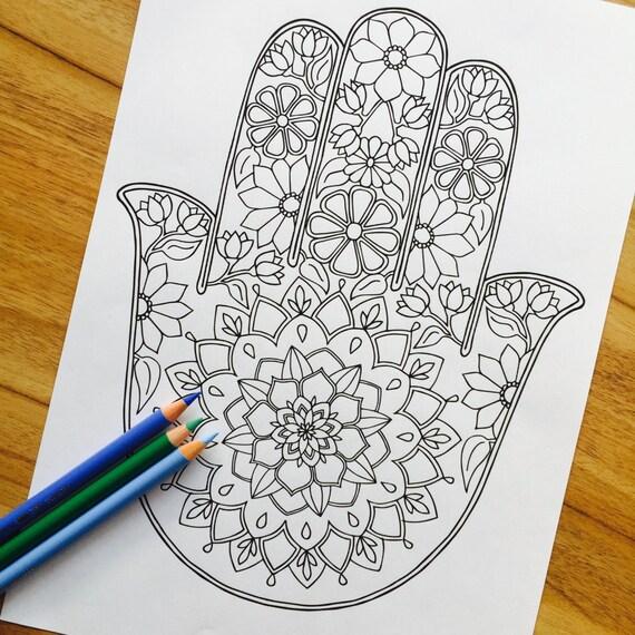 Hamsa Daydream dibujado a mano colorante impresión | Etsy