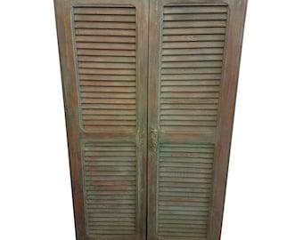 Moroccan Green Whitewash Shoe Cabinet, Old Window Shutters