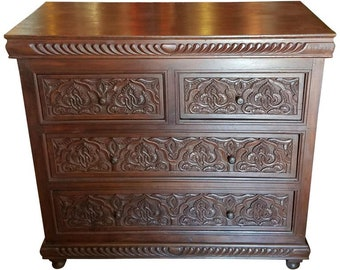 Moroccan Carved Wooden Cabinet, Plenty Of Storage