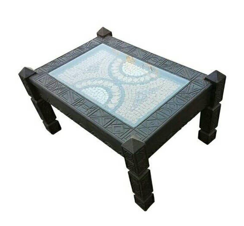 2c17adbd4318e Moroccan Cedar Wood Coffee Table Marble Top | Etsy