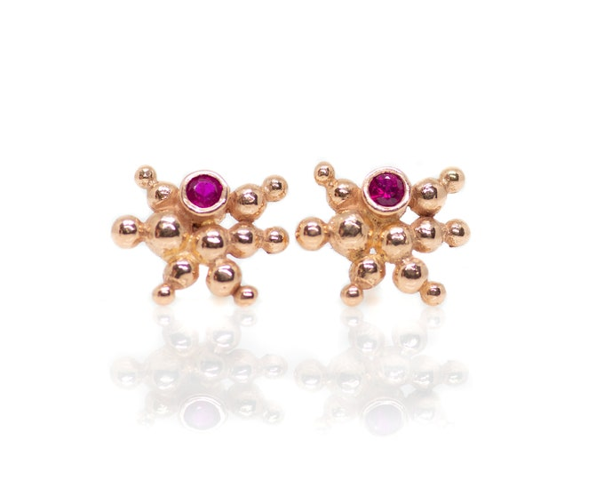 Rose Gold and Ruby Caviar Starburst Studs