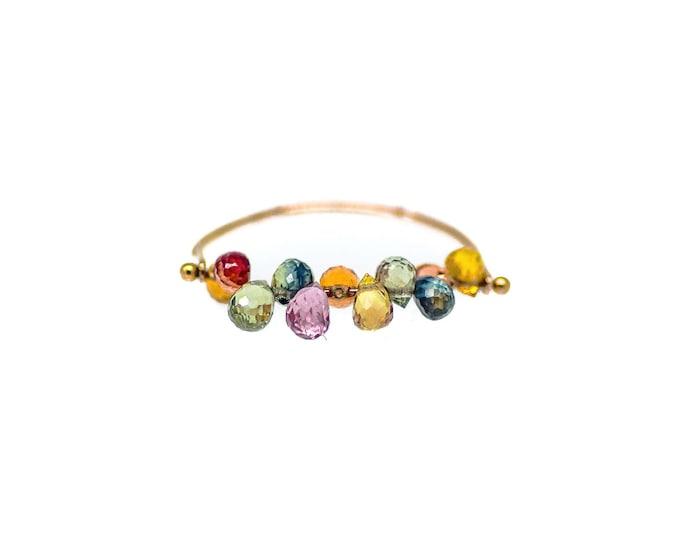 Rose Gold Rainbow Sapphire Ring