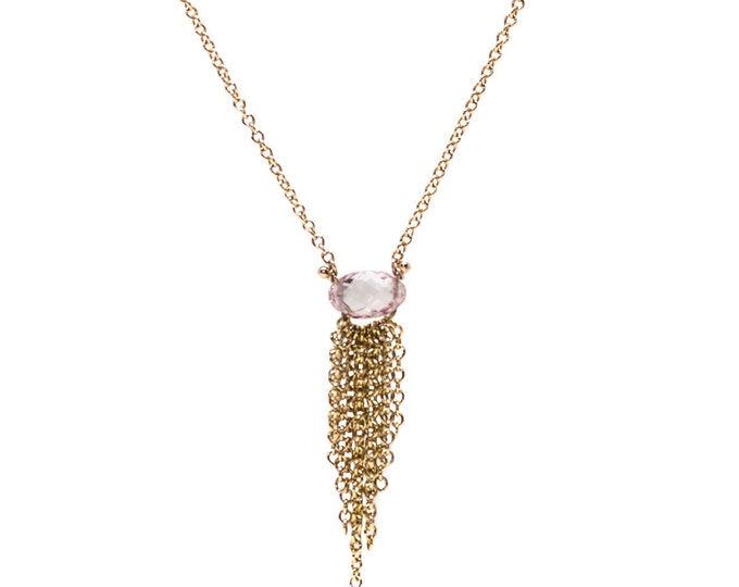 Pink Sapphire and Gold Briolette Fringe Necklace