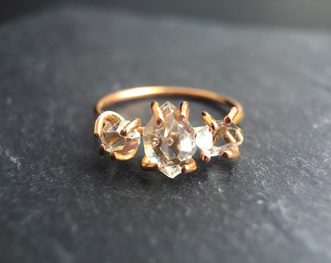 Three Stone Herkimer Diamond Ring