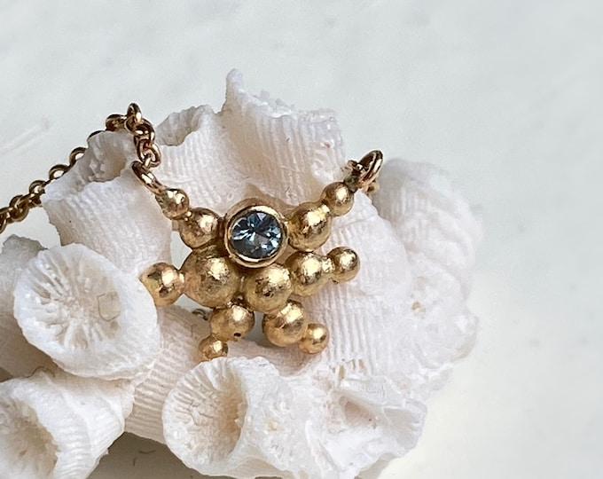 Gold Sapphire Starburst Necklace