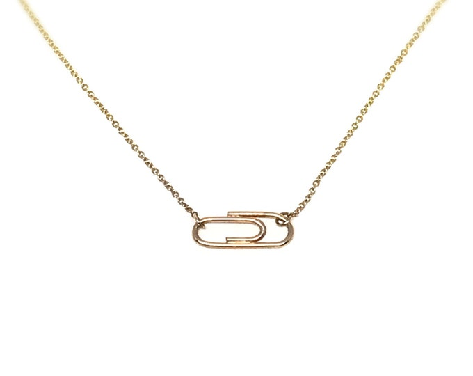 Gold Mini Paperclip Necklace