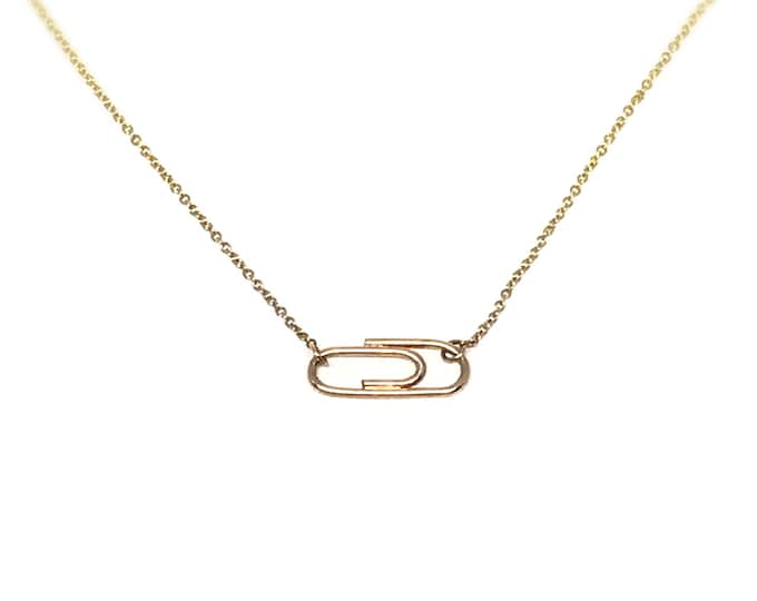 Custom Solid 14 Karat Yellow Gold Ruby and Aquamarine Mini Paperclip Necklace for Eryn