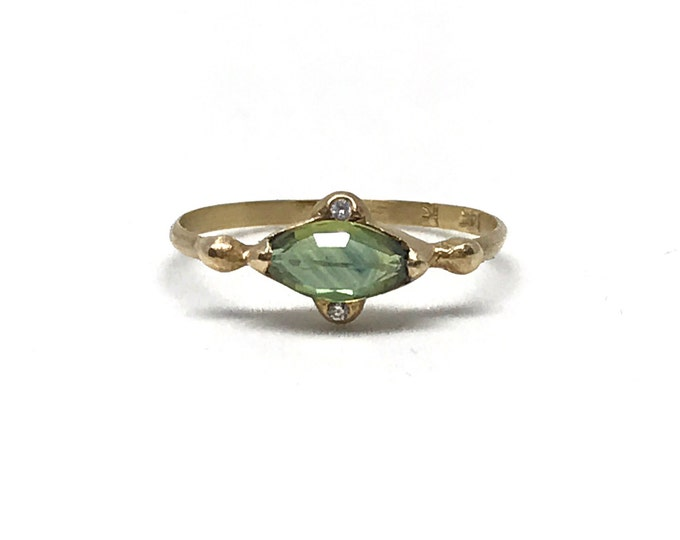 Gold Blue Green Sapphire and Diamond Ring